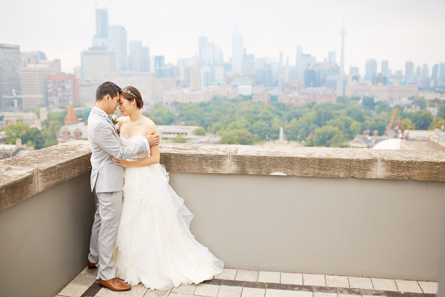 outdoor tent wedding blush grey bridal couple roof top
