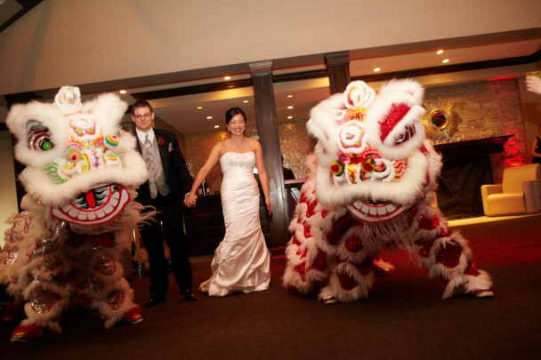 palais royale outdoor tent wedding lion dance