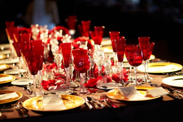 palais royale outdoor tent wedding red head table
