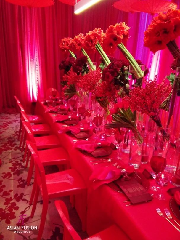 fete chinoise fuscia table top