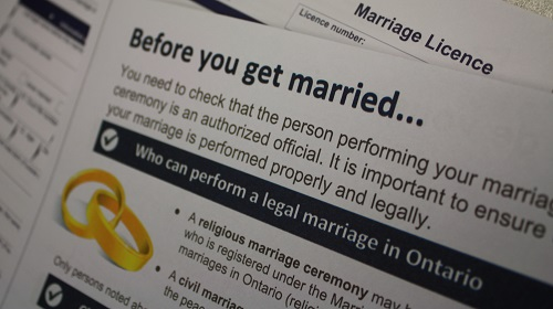 ontario marriage license application
